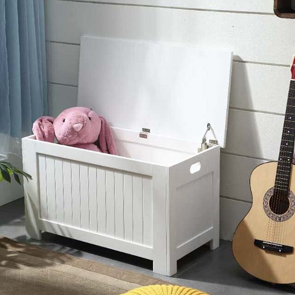 Multi Function MDF White Toy Storage Box