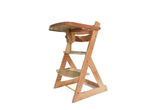 Varnish Birch Wood Baby High Chair