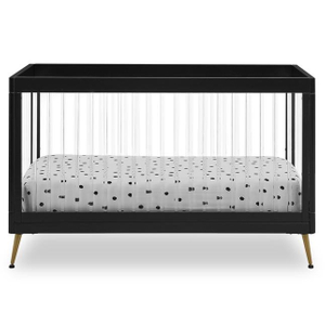 Black Modern Wood Baby Crib Convertible