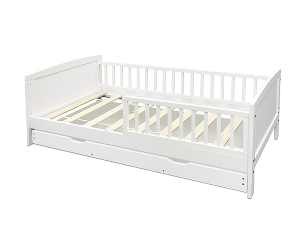 White Wood Toddler Bed with Trundle