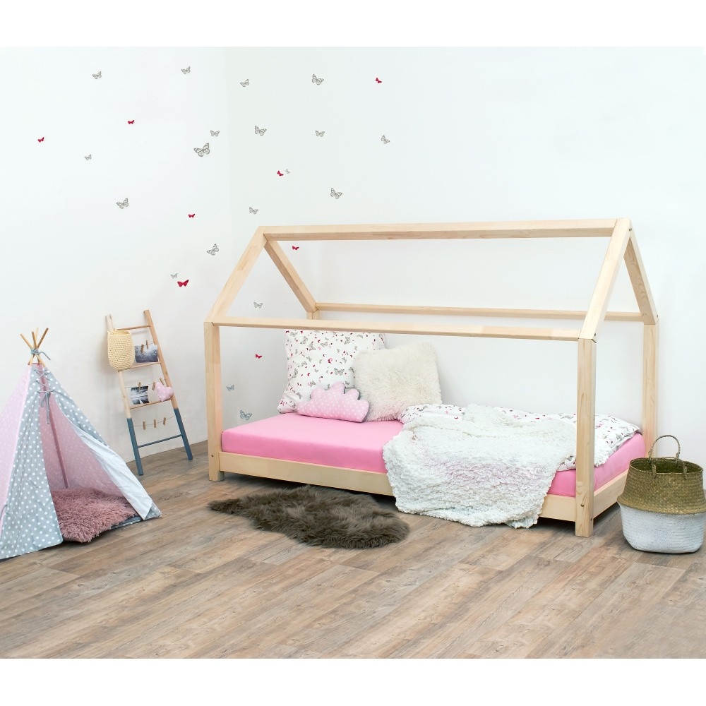 Wood House Bed with Plywood Slats