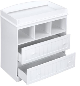 White Kid Wood Changing Table witn Storage Drawer