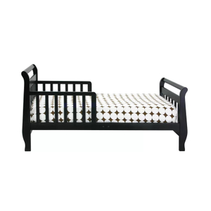 Black Wooden Toddler Bed with Guard Rail