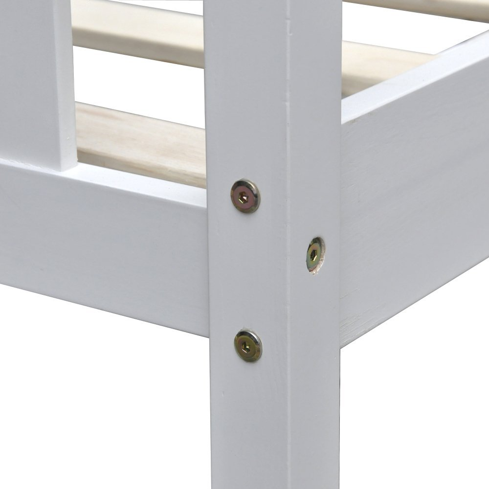 Double White Wood Bed Frame
