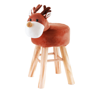 Kids Ottoman Chair Animal Cover with Wood Legs