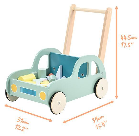 Car Shape Wooden Baby Walker Toy with Blocks