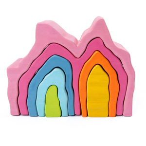 Fire Shape Wooden Rainbow Building Blocks Toys
