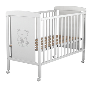 White Wood Baby Crib with Bear Pattern