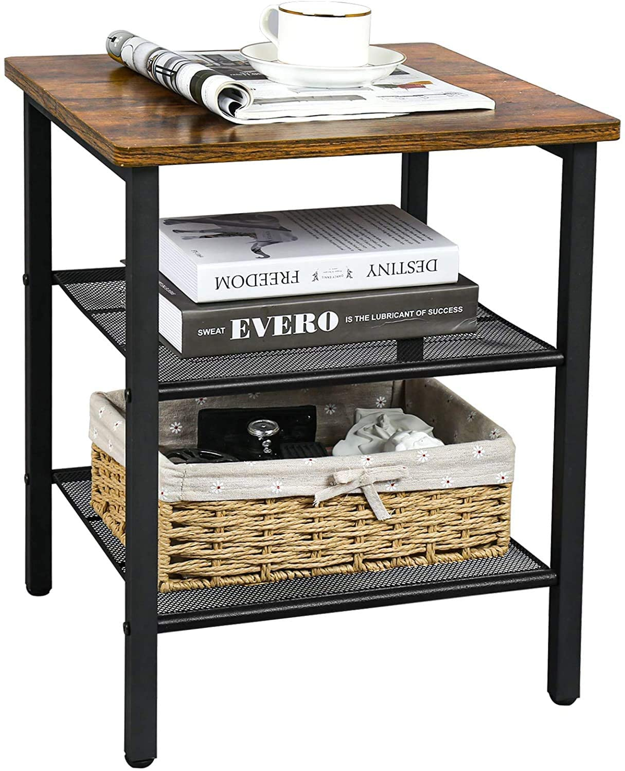 Wood-Steel Nightstand Table with Storage Shelves