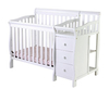 White Wood Baby Crib with Changing Table