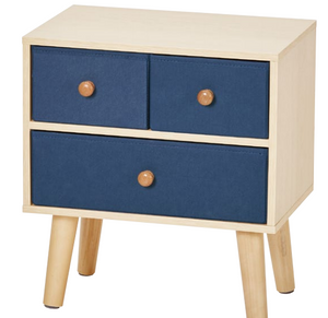 Blue MDF Side Cabinet with Solid Wood Legs for Bed