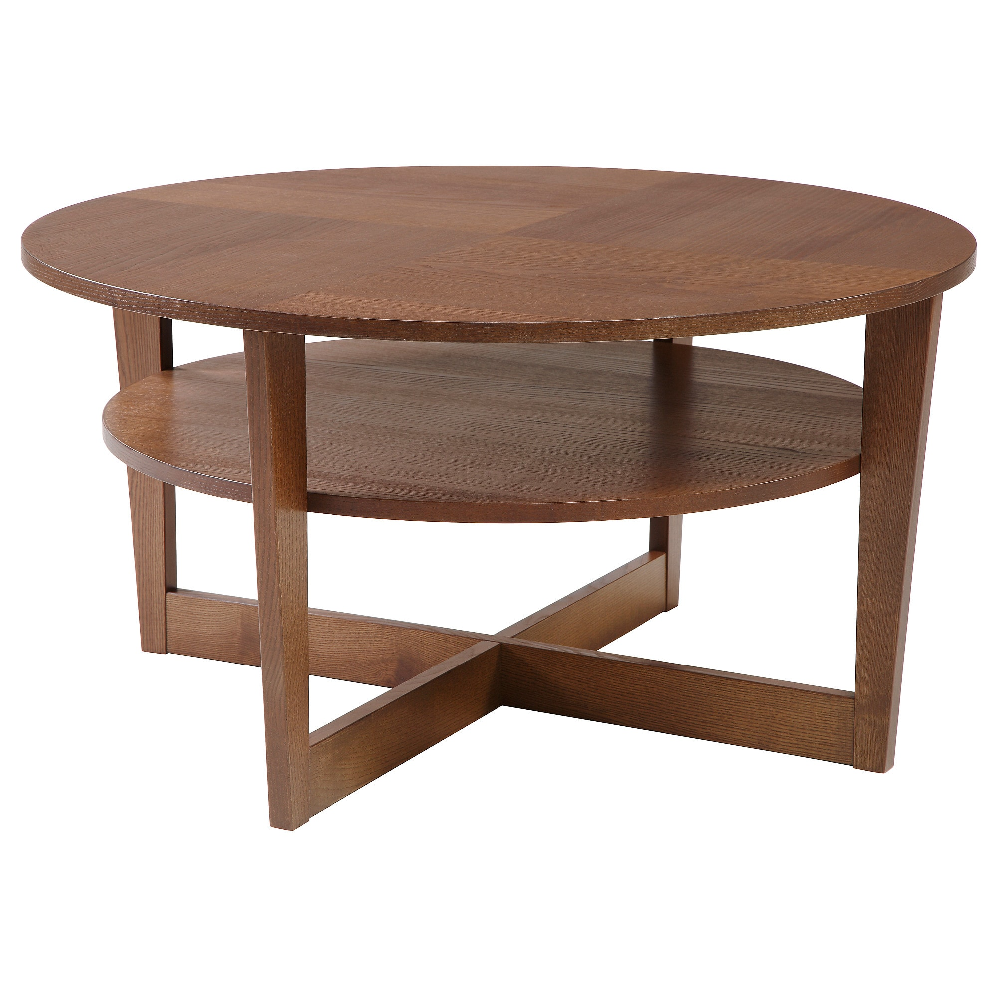 Wooden Round Coffee Table with Storage Open Shelf