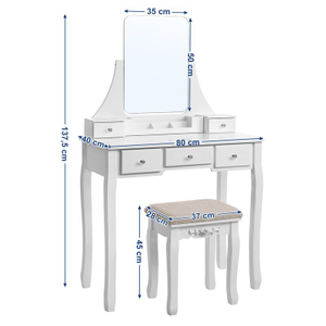 White Wood Dressing Table Set with Mirror